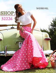 Shop Sherri Hill polka dot Prom Dress 32226 at Prom Dress Shop